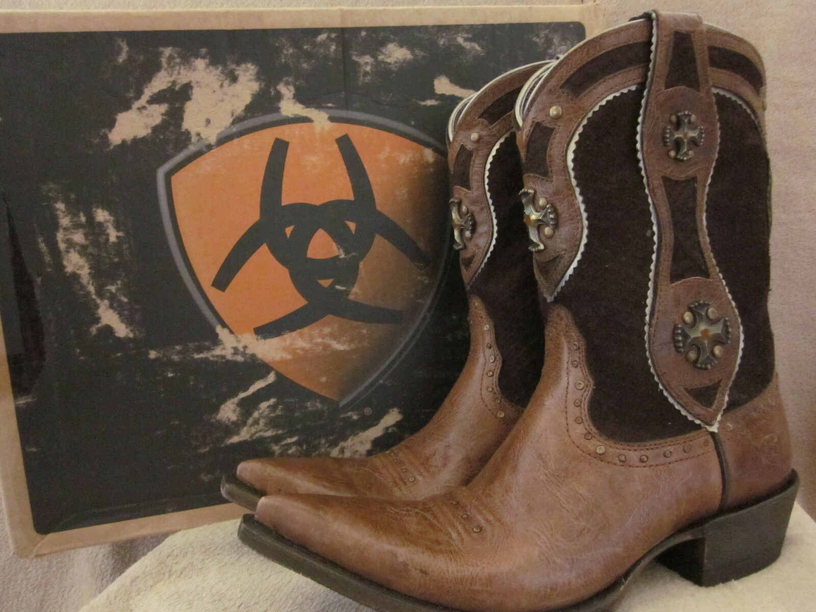 ARIAT Desperado Cowboy Dry Creek Brown Leather Boots Shoes US 6.5 M NWB