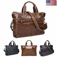 Men's Leather Briefcase Business Handbag Laptop Shoulder Messenger Work Tote Bag