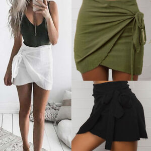 Womens-Slim-Pencil-Bandage-High-Waisted-Bodycon-Ladies-Wrap-Short-Mini-Skirt-TP
