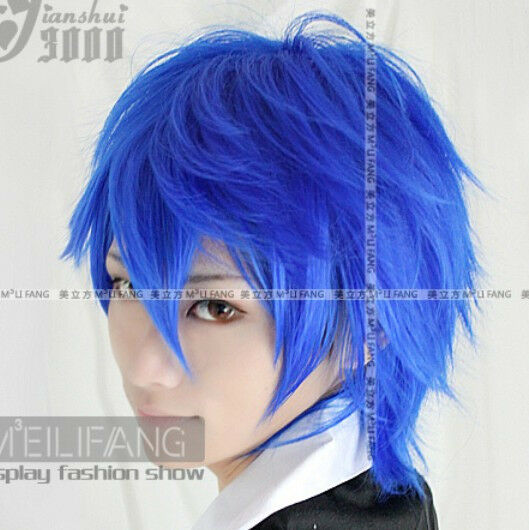 Vocaloid Kaito short blue layered cosplay Wig