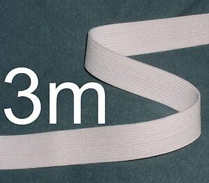 WHITE-ELASTIC-INCH-TAPE-3m-long-length-of-hem-edging-ideal-for-waist-bands