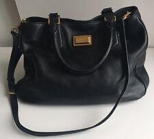 Marc Jacobs Classic Q Fran Satchel Crossbody Tote Shopper Handbag Black Leather