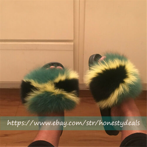 Green yellow .Black Real FOx Fur Slides Slippers Sandals Shoes Sliders