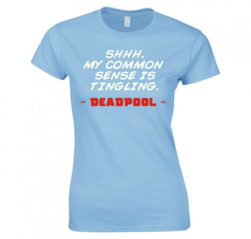 "DEADPOOL /""SHHH QUOTE/"" LADIES T-SHIRT NEW"