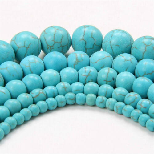 Naturel Pierre Turquoise Gemstone Craft Spacer Loose Beads 4 mm 6 mm 8 mm 10 mm 12 mm