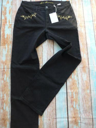 Sheego Jeans Hose elástico negro con bordado señora talla 44 sobre tamaño 210