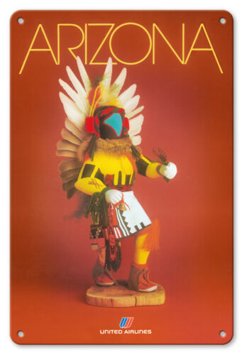 Arizona United Airlines Pueblo Kachina Doll 8in x 12in Vintage Metal Sign