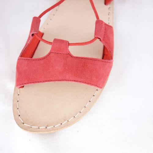 Sandali rossa 40 41 38 piatta Gr 37 donna 148 Nuovo Np pelle Malaga Leon Harper rngwUqrv