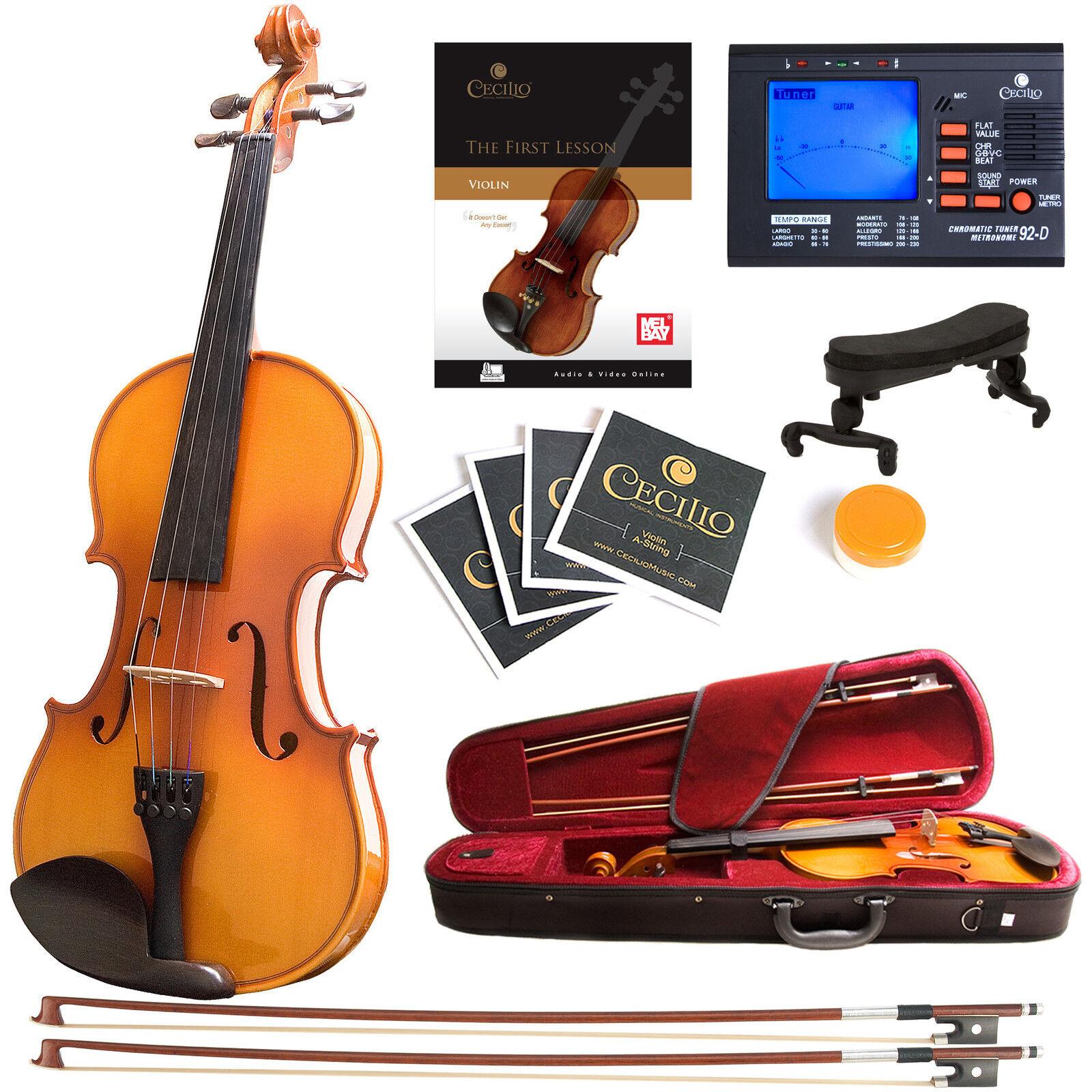 Mendini Size 1 4 Solidwood Violin Ebony Fitted +Tuner+Book Video 1 4MV400