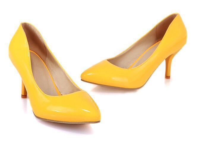 Escarpin éscarpins chaussures talons aiguilles femme jaune classique 7 cm cm cm 8622 ad0f14