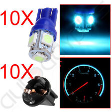 "10X  Ice Blue 168 T10 5SMD Instrument Cluster Dash LED Bulbs 1/2"" Hole Sockets"