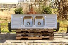 """304 Stainless Steel Vintage Inspired Farm Sink 60"""" Stamped Metal Dble Drainboard"""