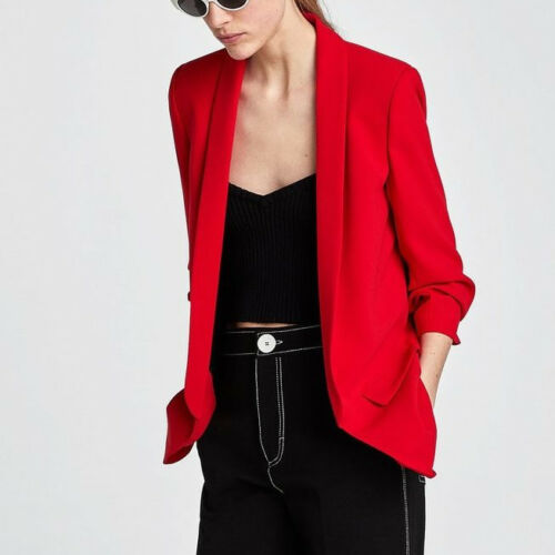Zara 778 With 2387 Sleeves Blazer Red Gathered Size Crepe Xs Ref New Roja 8qraw8