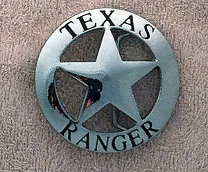 Texas-Ranger-Badge-Belt-Buckle-Silver-Slightly-Scratched
