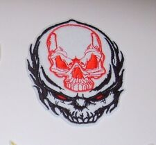 """Double Skull Biker Patch~3 1/2"""" x 2 7/8""""~Embroidered~Iron or Sew~FREE US Mail"""