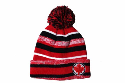 MOMENTO..New RED MAPLE LEAF On Brim TOQUE Hat With POM POM . COLORED Stripes