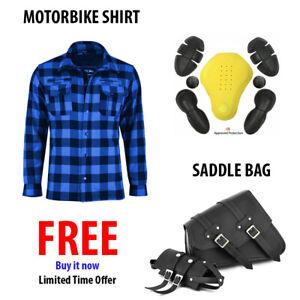 CE-Armoured-Motorbike-Motorcycle-Shirt-Check-Lumberjack-With-FREE-Saddlebag