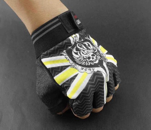 Biker Competitive Training Sport Driving Skull Men/'s Fingerless Gloves