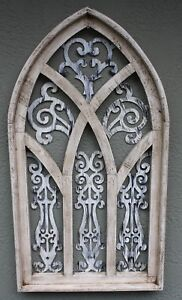 """Wooden Antique Style Church WINDOW Frame Primitive Wood Gothic 32 1//2/"""" Shabby"""