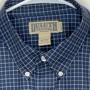 Duluth-Trading-Mens-Shirt-Plaid-LS-Blue-XL-Tall