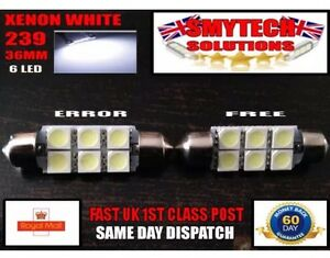 2x MG MG ZS Bright Xenon White Superlux LED Number Plate Upgrade Light Bulbs