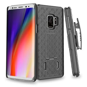 For-Samsung-Galaxy-S9-Combo-Shell-Case-w-Kick-stand-Swivel-Belt-Clip-Holster