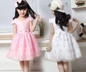 UK-Seller-Elegant-Summer-Pretty-Lace-Floral-Party-dress-Flower-Girl-Dress-3-8-Y