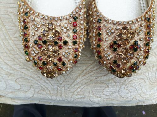 Back 3 Wedding beige Indian Less Cream Size Slipper Ladies avqOHInwxp