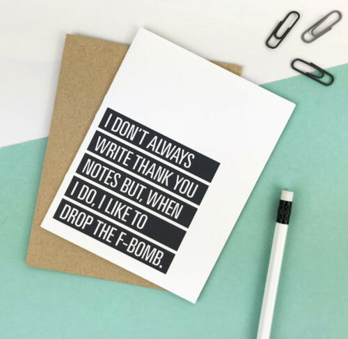 F-bomb Funny Swearing NSFW Thank You Card for Adults