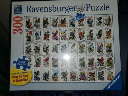 50 Bird Stamps 300 Large Format Piece Puzzle 27 × 20 inches.