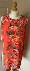 Wallis-14-Petite-Floral-Sleveles-Tunic-Dress-Lined-Orange-Butterflies
