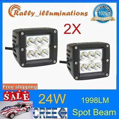 2X Cree 24W Led Work Light Spot 4x4wd OffRoad Driving Pods Jeep 16W/18W Boat USA