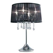 Lámpara De Taburete Cristal Transparente Mesa Regulable Organdí