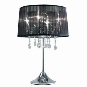 Hockerleuchte-Kristallglas-Dimmbar-Organza-Silber-Schirm-Schwarz-Sompex-79295
