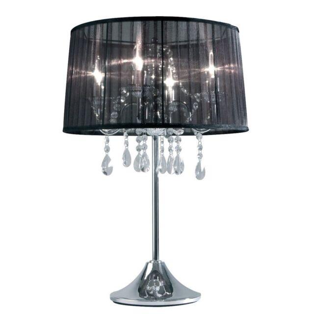 Tischlampe silber mit Kristallglas Dimmbar Organza Schirm Schwarz Tisch Leuchte
