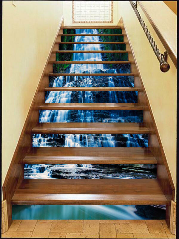 3D Steps Stream Stair Risers Decoration Photo Mural Vinyl Decal Wallpaper CA