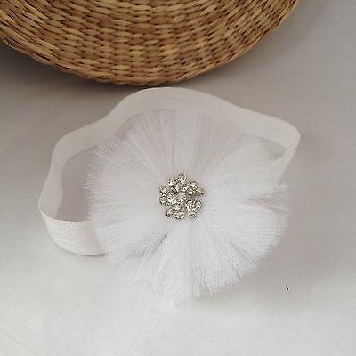 White tulle baby headband hair band for christening baptism wedding tulle flower