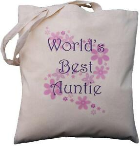 WORLD'S BEST AUNTIE - NATURAL COTTON SHOULDER BAG - Aunt,Gift