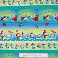 Christmas Fabric - Snowman Santa Present Gift Stripe Green - Free Spirit Yard