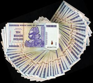 5 Billion Zimbabwe Dollars x 10 Banknotes AA AB 2008 10PCS Lot of 10 Paper Money