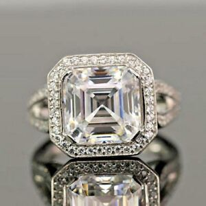 5-60ct-White-Asscher-Cut-White-Diamond-Impressive-925-Silver-Engagement-Ring