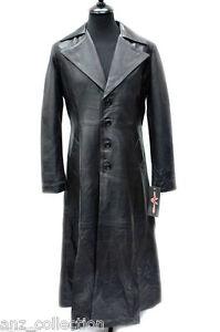 2019 profesional Amazonas comprar oficial Detalles de Para hombres Vampiro Negro Piel De Cordero Cuero Chaqueta Larga  de abrigo largo completo longitud del collar- ver título original