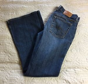 Lucky-Brand-Blue-Jeans-Dungarees-Dark-Wash-Women-Size-8-Flare-Leg-Cotton-Blend