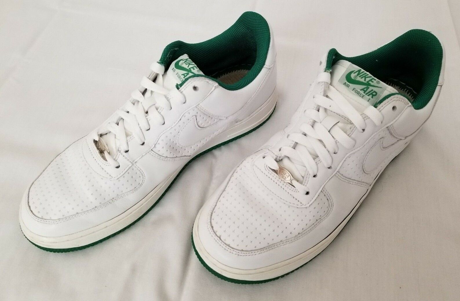 Mens Size 10 White Green Nike Air Force
