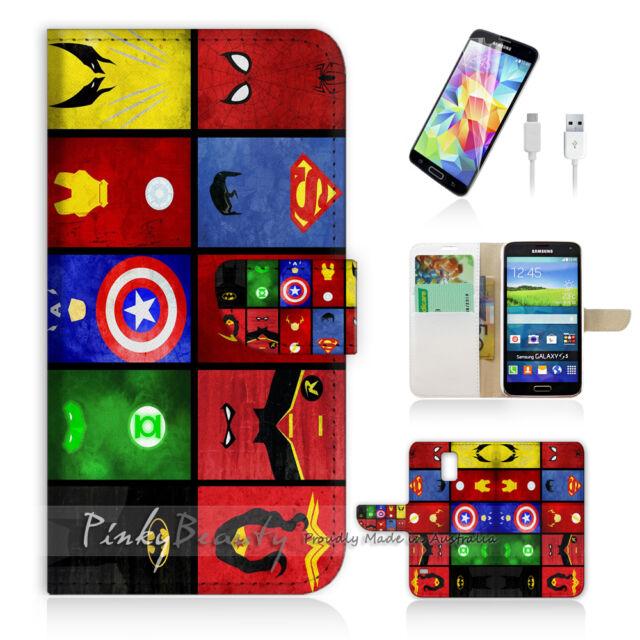 ( For Samsung S5 ) Wallet Case Cover! Superhero Collection P0139