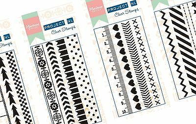 Marianne Design clear BORDER STAMPS edging, planner boxes & background textured