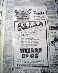 THE-WIZARD-OF-OZ-Judy-Garland-Opeing-Day-PREMIERE-ADVERTISEMENT-1939-Newspaper