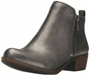 Lucky-Brand-Womens-Basel-Leather-Almond-Toe-Ankle-Fashion-Pewter-Rock-Size-7-0