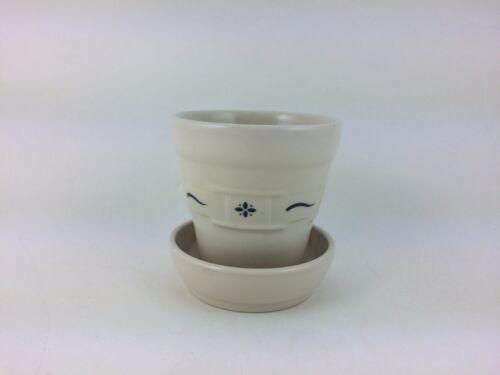 Longaberger Pottery Classic Blue Medium Flower Pot w Saucer