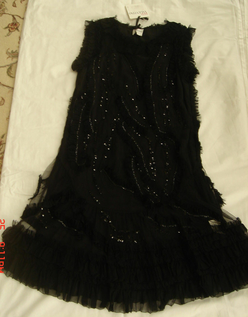 RED VALENTINO Lace Tulle,Embroidery Sequinned,Ruffled Dress It It It 42,US 4-6 Small 442046